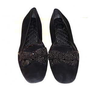 Tory Burch Bow Black Suede Size 8.5